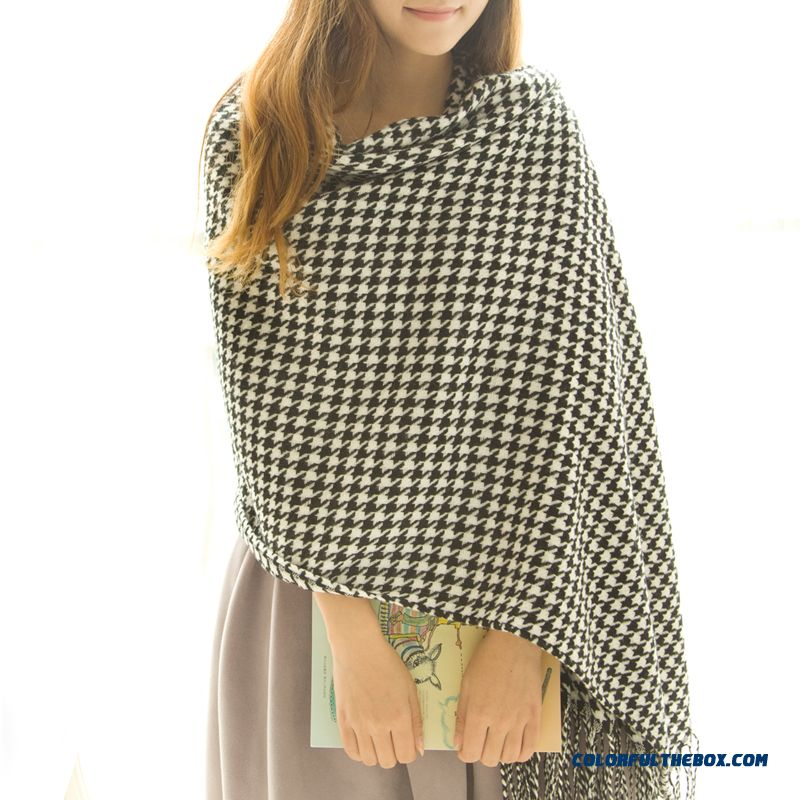Fall And Winter Super Long Style Thick Plaid Shawl Women Dual-purpose About The Neck About The Neck - more images 1