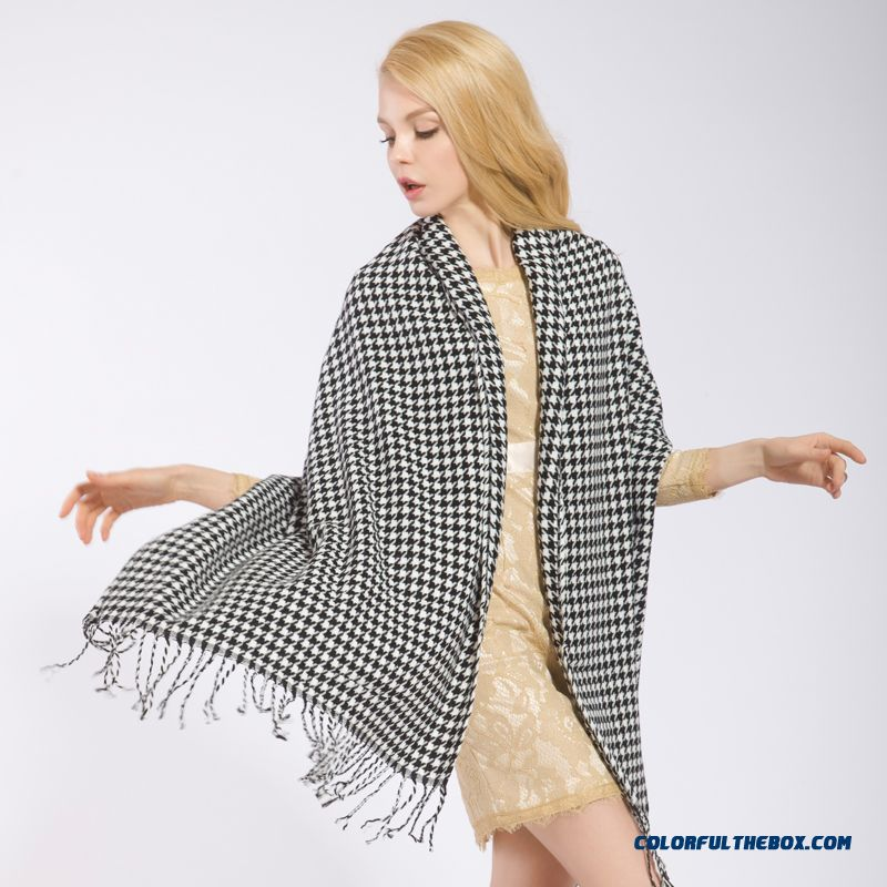 Fall And Winter Super Long Style Thick Plaid Shawl Women Dual-purpose About The Neck About The Neck - more images 2