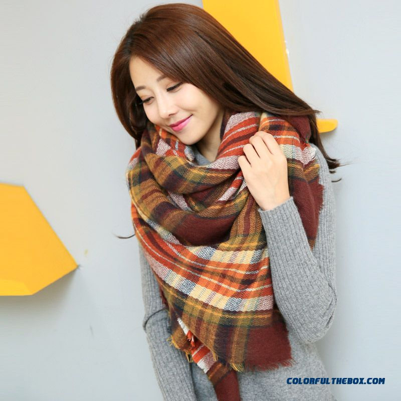 Fall And Winter Super Long Style Thick Plaid Shawl Women Dual-purpose About The Neck About The Neck - more images 3