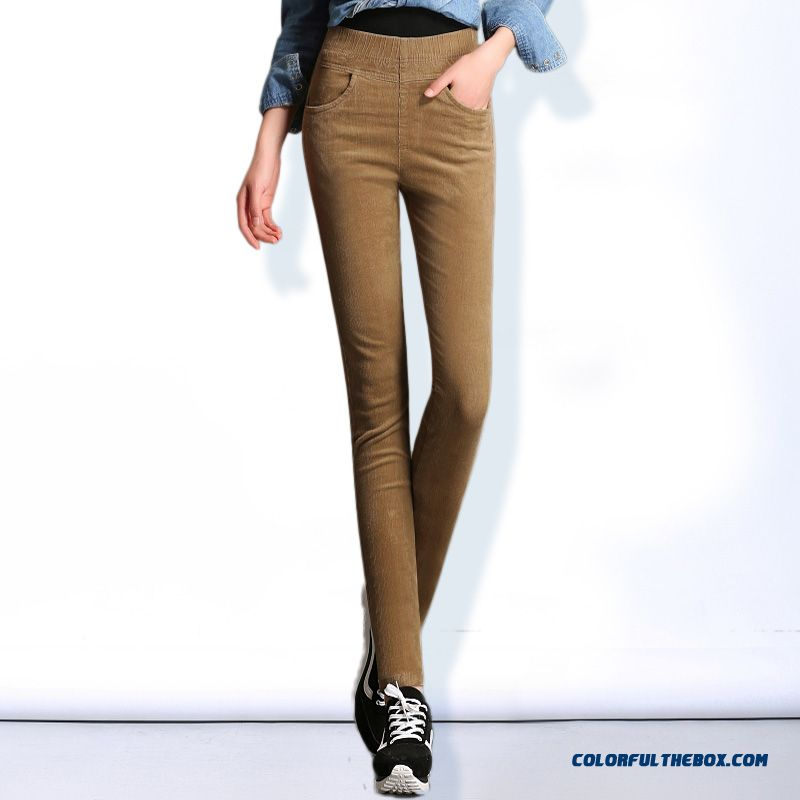 Fall Clothing New Arrival Large Size Stretch Corduroy Pants Women Pencil Pants