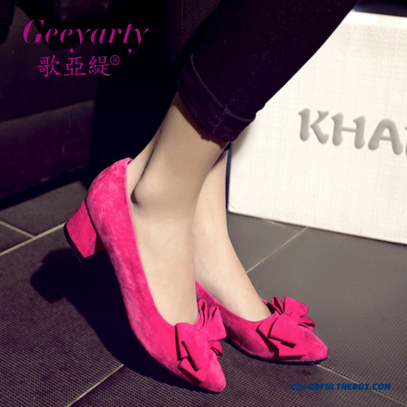 Fall Middle-heels New Suede Women Shoes Sweet Bow-tie Decorative Pumps