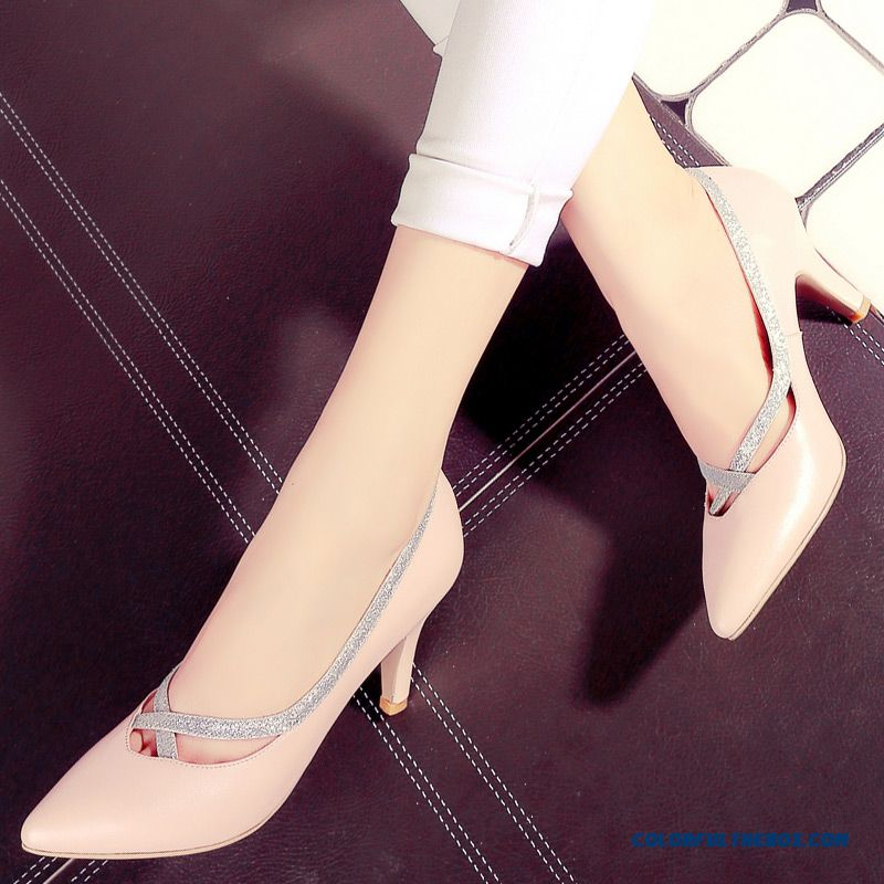 Fashiom Pointed Shoes Women High Heels Sexy Fine Heel Simple Breathable Soft Surface Genuine Leather Pumps