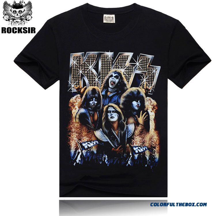 Fashion 3d Design Kiss Rock Band Printed Hip Hop T Thirt Men,summer Cotton Good Quality Men T-shirt,black Color Tees.