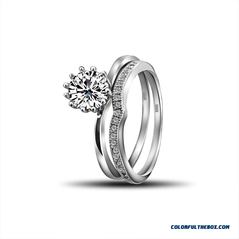 Fashion All-match 925 Silver Wedding Ring Artificial Zircon Ring