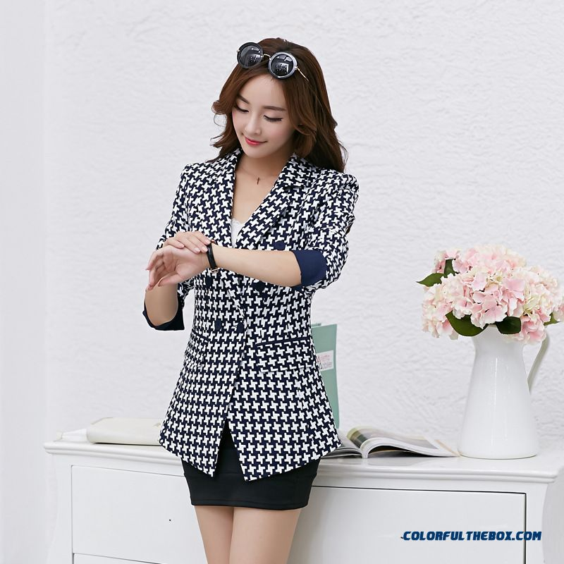 Fashion And Thin Medium-long Plaid Suit Women Coats