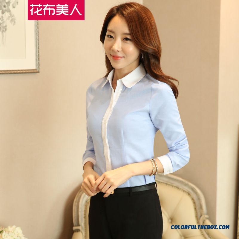 Fashion Apparel Slim Long-sleeved Shirt Hit Color Medium Style Top Quality For Women