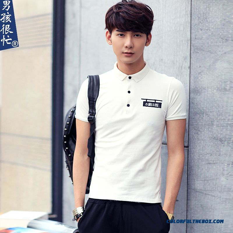Fashion Apparel Summer Slim Men's Short Sleeve Tees Lapel Printing Letter
