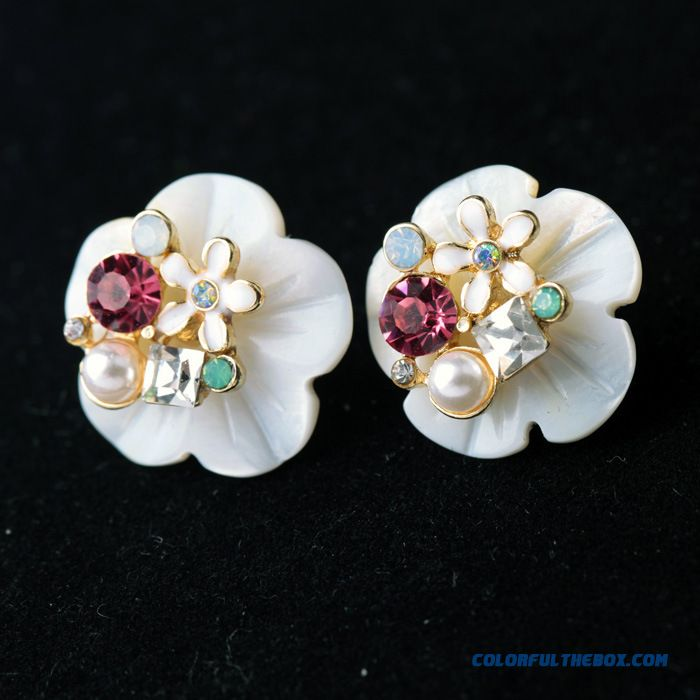 Fashion Boutique Wholesale Earrings New Natural Mother Of Pearl Crystal Flowers Jewelry