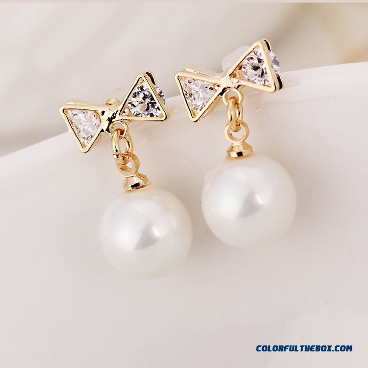Fashion Bow Pearl Earrings Hypoallergenic Jewelry Special Offer For Women