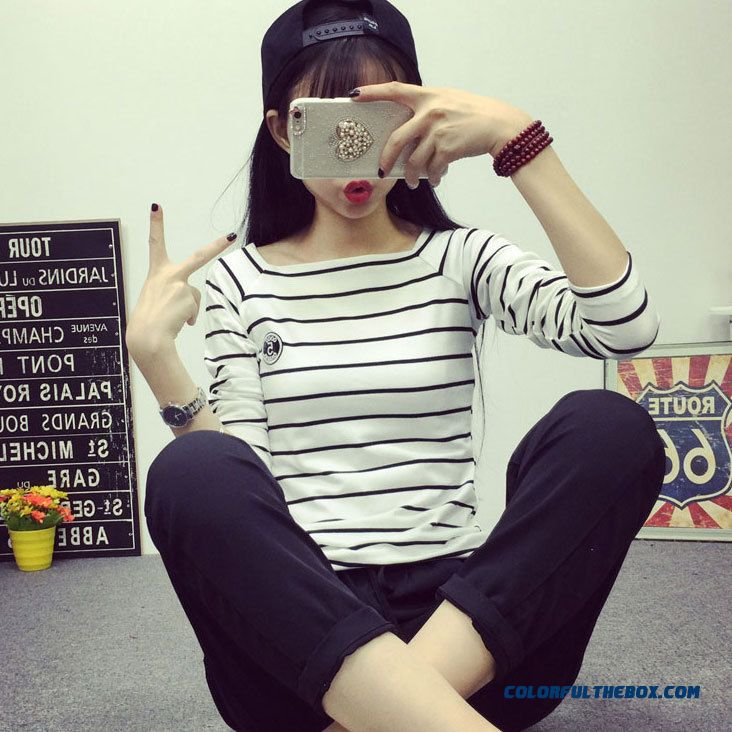 Fashion Classic Large Size Women Loose Striped Long-sleeved T-shirt Cotton Shirt
