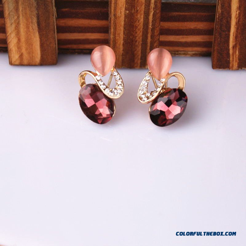 Fashion Crystal Earrings Pierced Earrings Cheap Wholesale Women Jewelry