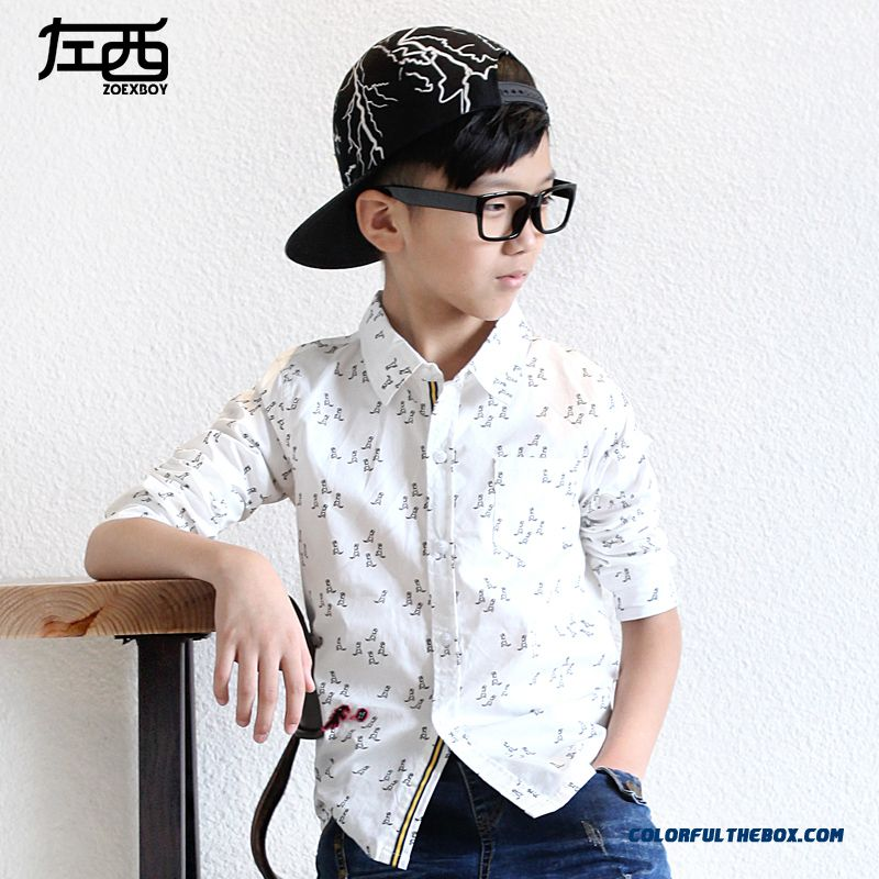 Fashion Design Boys Kids Lapel Pointed Collar Cotton Printing Shirts Direct Sales