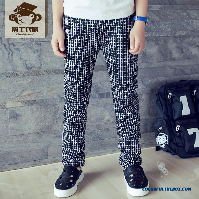 Fashion Design Classic Casual Plaid Long Pants For Boys Black Coffee Colors Two Color Avaliable