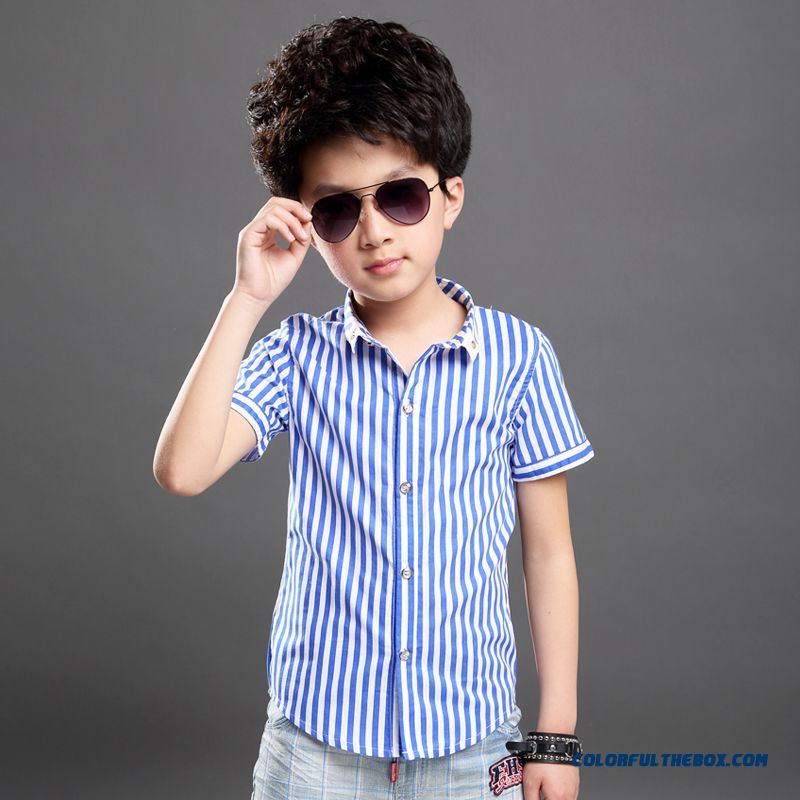 Fashion Design Classic Vertical Stripes Shirts Kids Clothing Red Blue For Boys