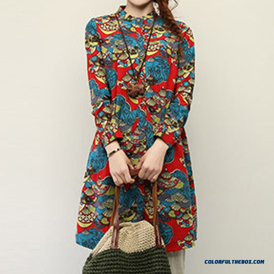 Fashion Design Large Size Medium-long Flower Shirts Fluid Systems Long-sleeved Shirt Special Offer For Women