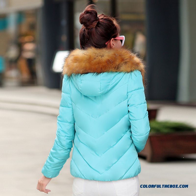 Fashion Female Coats Ovo Collar Large Short Blue Green Promotion Sexy - more images 4