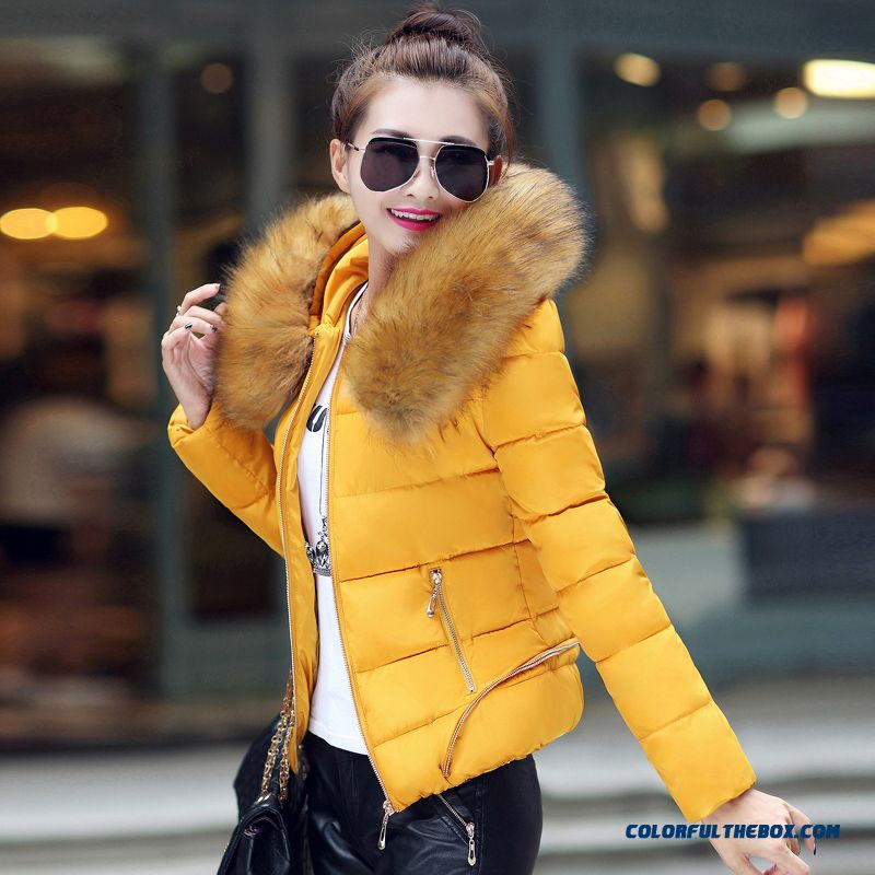Fashion Female Coats Thicken Slim Ovo Collar Coat Large Yellow Cotton-padded Jacket