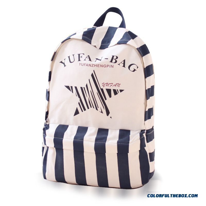 Fashion Five-pointed Star Canvas Shoulder Bags Woman Casual Vertical Stripe Backpack England College Style