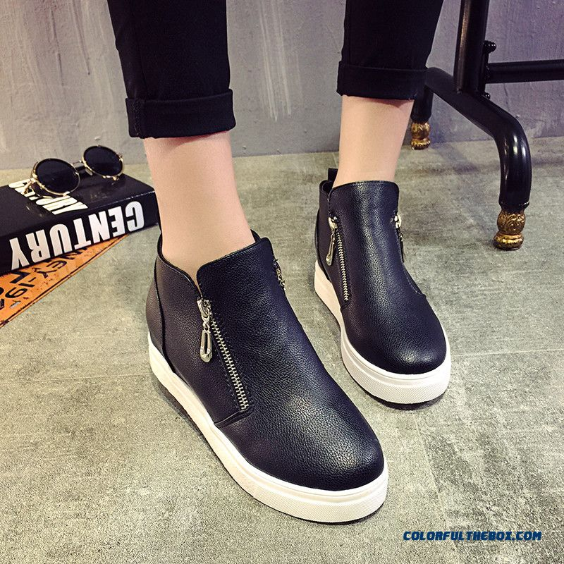Fashion Girl Wemen Black Ankle Boots With Side Zipper Casual