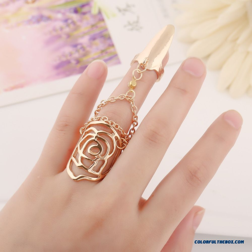 Fashion Hollow Rose Siamese Nail Ring Factory Wholesale Women Jewelry