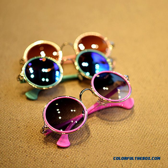 Fashion Kids Reflective Retro Round Dark Glasses Round Frame Sunglasses Colorful Candy Colored Boys And Girls All-match