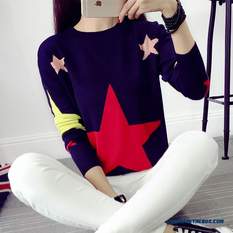 Fashion Lady Women Clothing Sweater Pull Blouson Bottoming Shirt Round Neck Loose