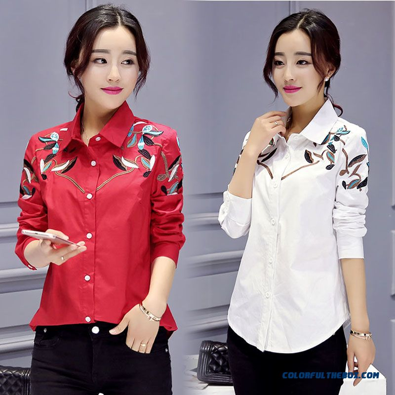 Fashion Lapel Cotton Long-sleeved Blouse Bottoming Women Coats Red White