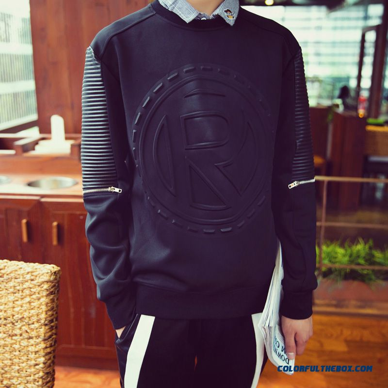 Fashion Letters Printed Pullover Round Neck Sweatshirts Men Clothing - more images 1