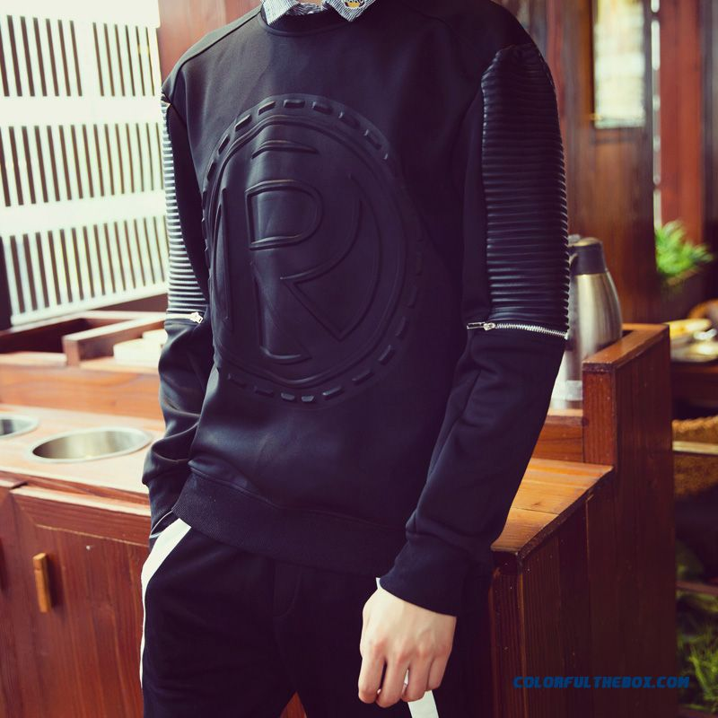 Fashion Letters Printed Pullover Round Neck Sweatshirts Men Clothing - more images 2