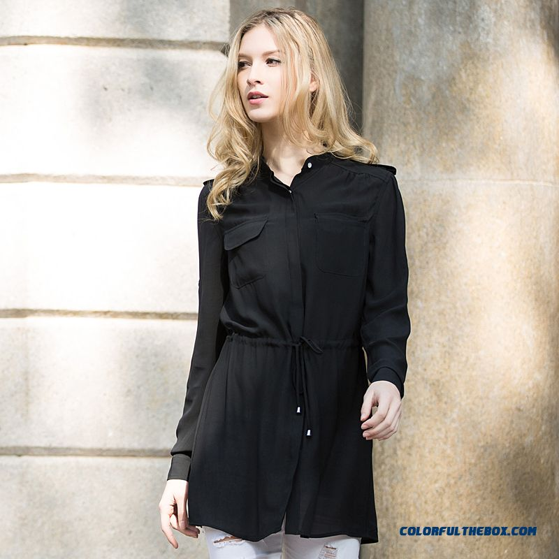 Fashion Loose Chiffon Standing Collar Medium-long Shirts Straight Ekegant Sesy Women Blouses