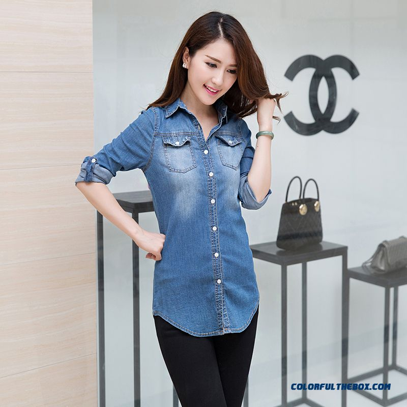 Cheap Fashion Medium-long Denim Shirts Women Long-sleeved Cotton ...