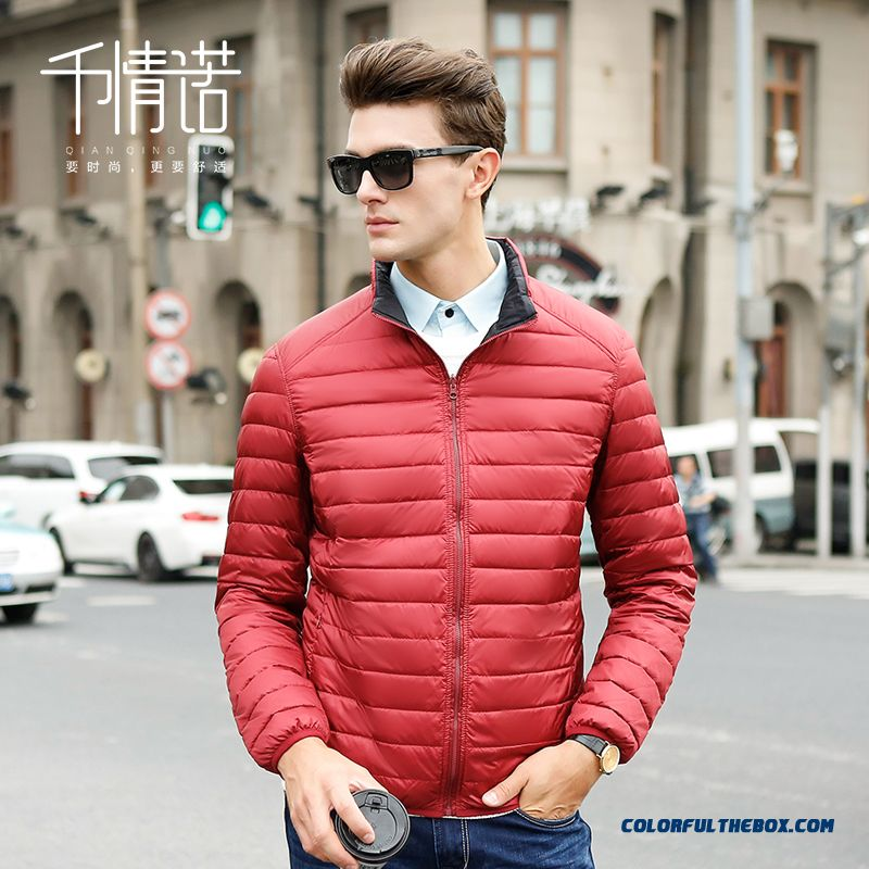 Fashion Men Stand Collar Slim Large Size Double-sided Wear Jackets