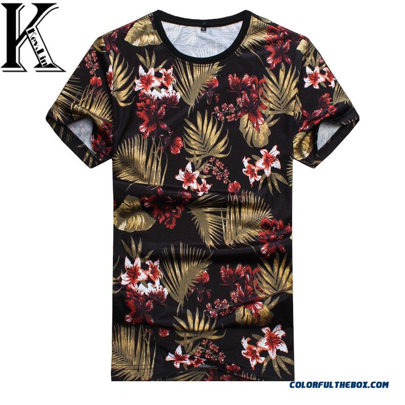 Fashion Men T Shirt 2016 Summer Floral Printed Cotton Short Sleeve Hip Hop Tops And Tees Men T-shirt High Quality