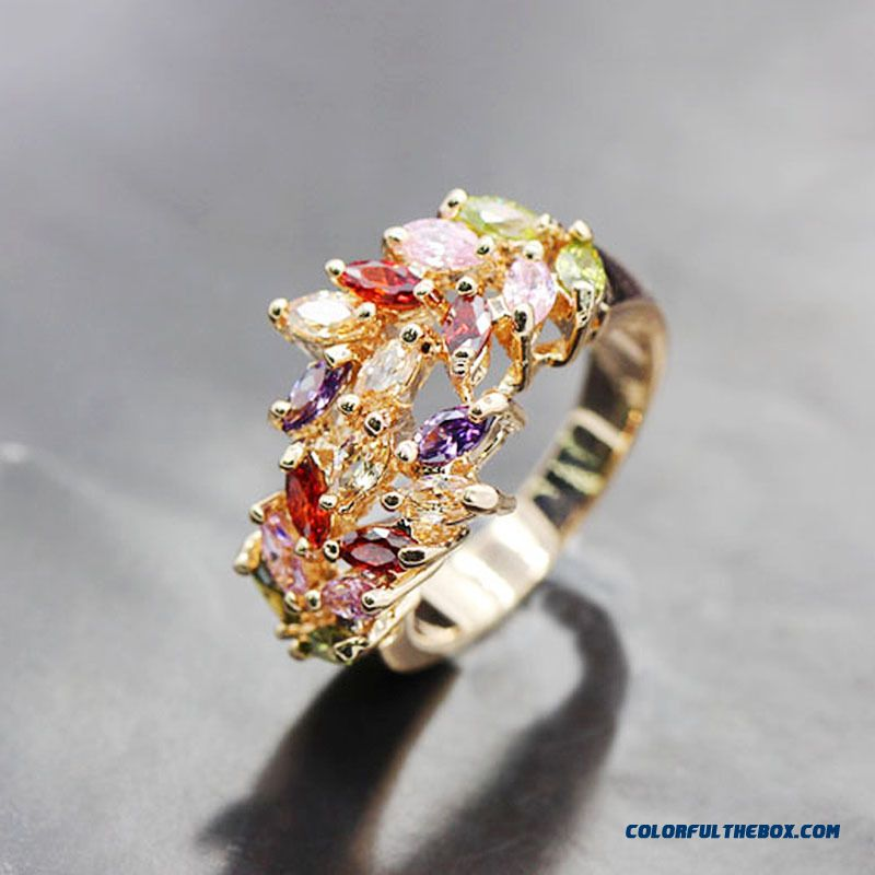 Fashion Olive Branch Color Zircon Ring Fashion Trend Of Women's Ring Rose Gold Plated Zircon Rings Jewelry