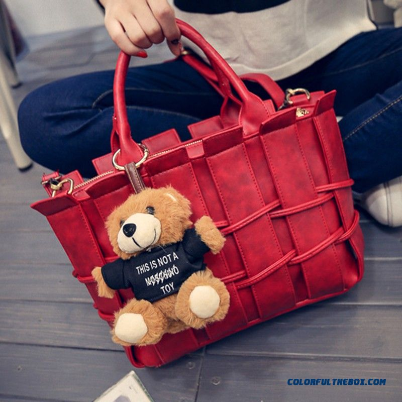 Fashion Plaid Weave Hairball Pendant Top-handle Bags Special Sale For Women
