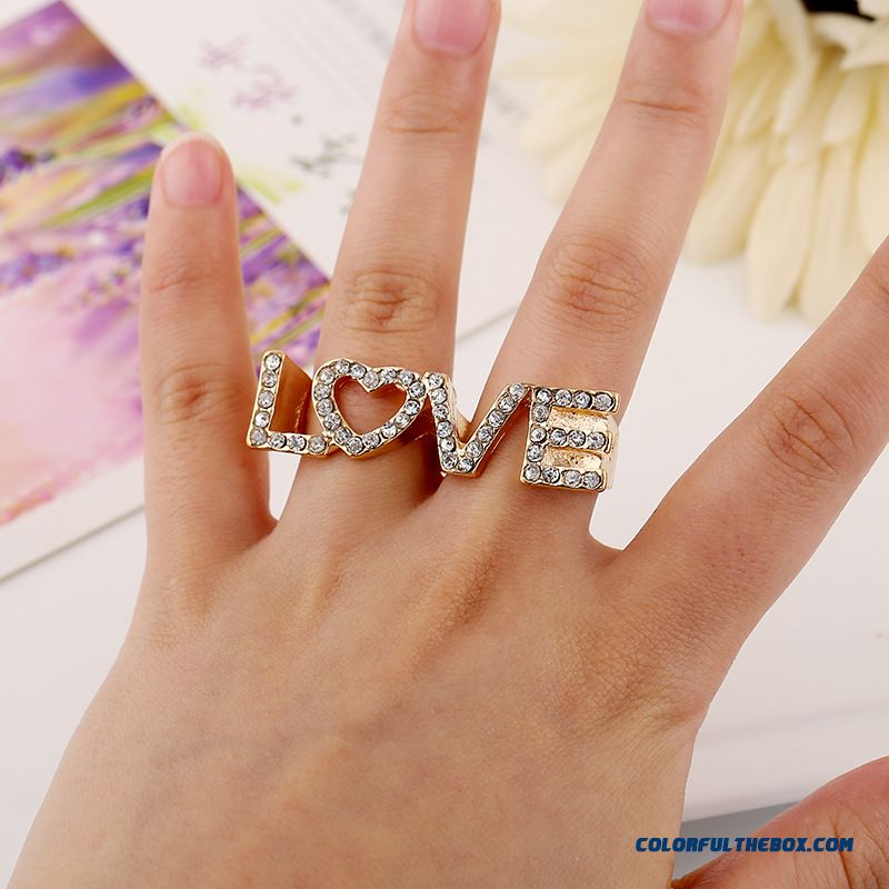 Fashion Rings Factory Wholesale Love Letters Full Of Diamond New Bicyclic Women Ring Jewelry