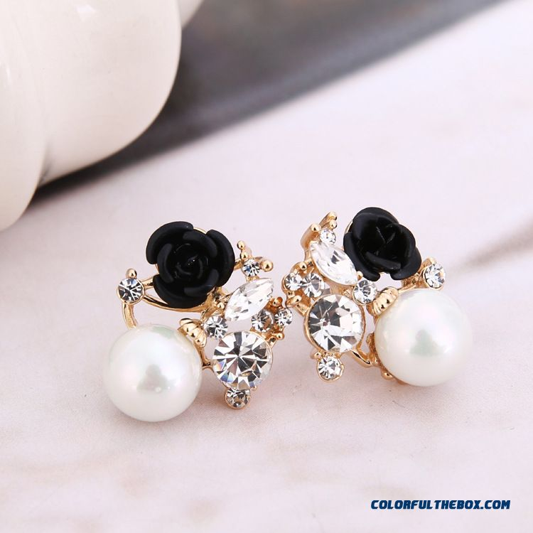 Fashion Roses Pearl Earrings Factory Direct Women Black Earrings Jewelry