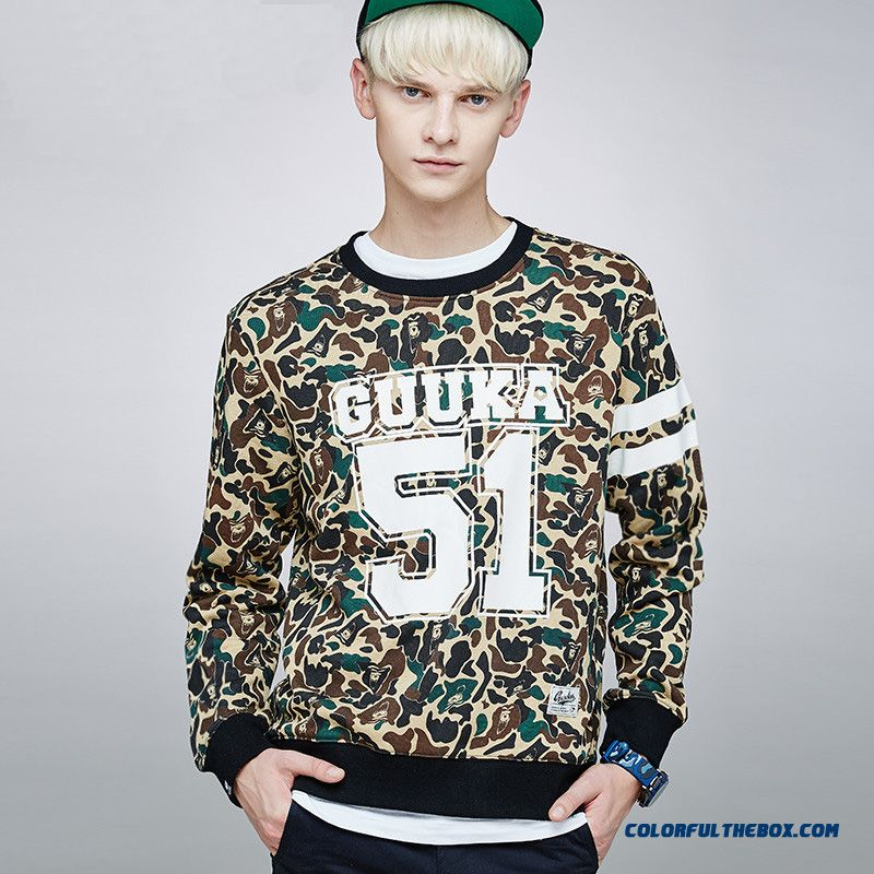 Fashion Round Neck Hoodies Pullover Long-sleeved Camouflage Swearshirts Slim