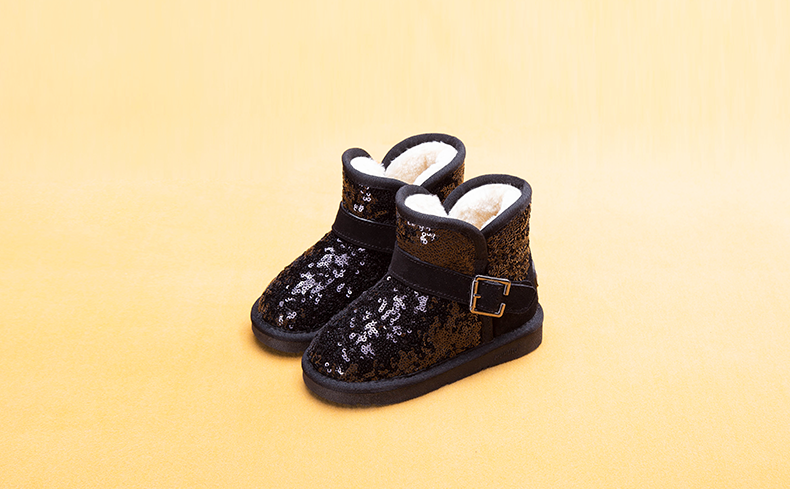 Fashion Sequin Winter New Children's Snow Boots Boy Boots Plus Velvet Warm Boots Anti-slip