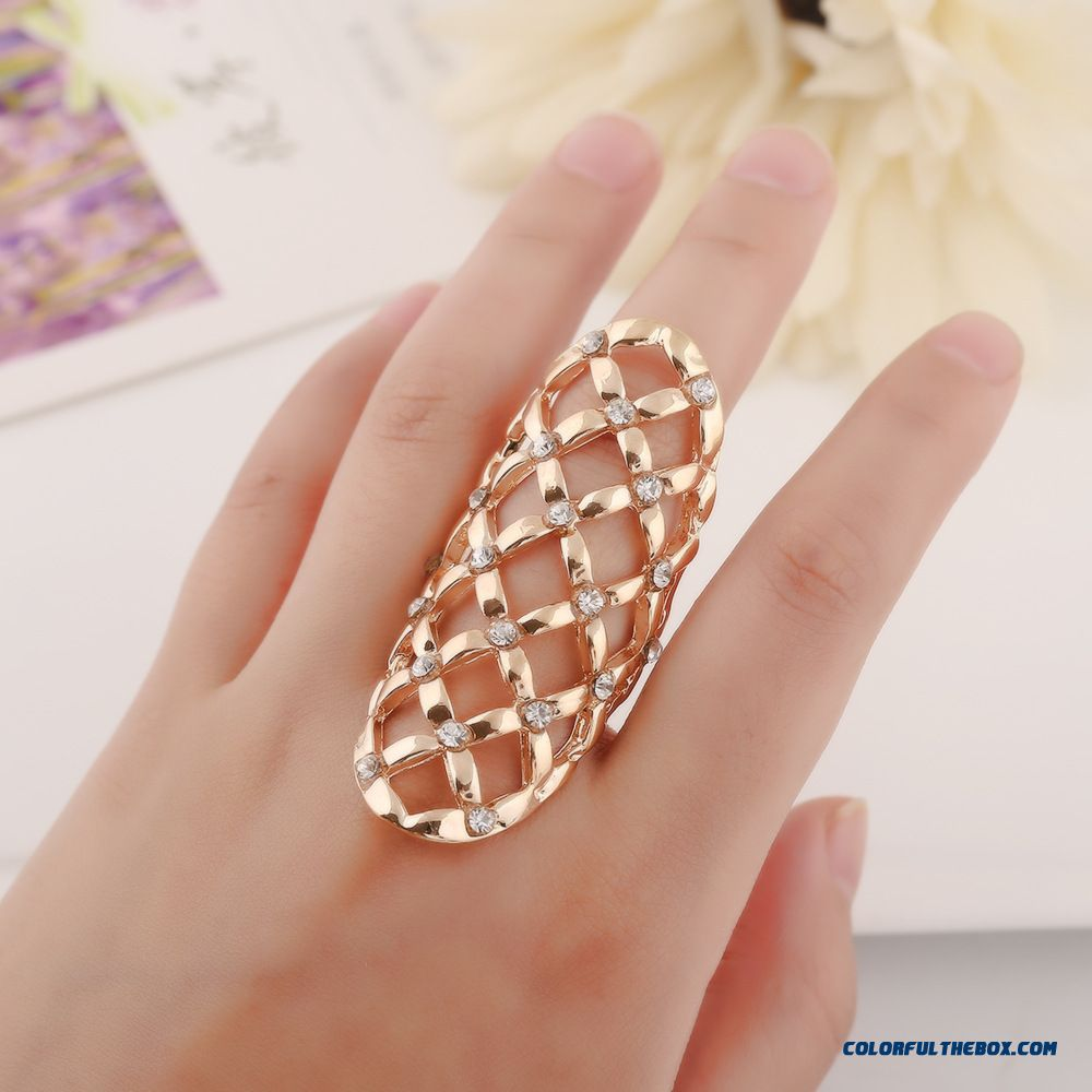 Fashion Set With Diamonds Hollow Geometry Exaggeration Alloy Ring Manufacturers Wholesale Women Jewelry