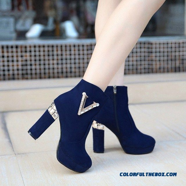 Fashion Shoes Pure Color Side Zipper Thick Heels High Heel Women's Boots