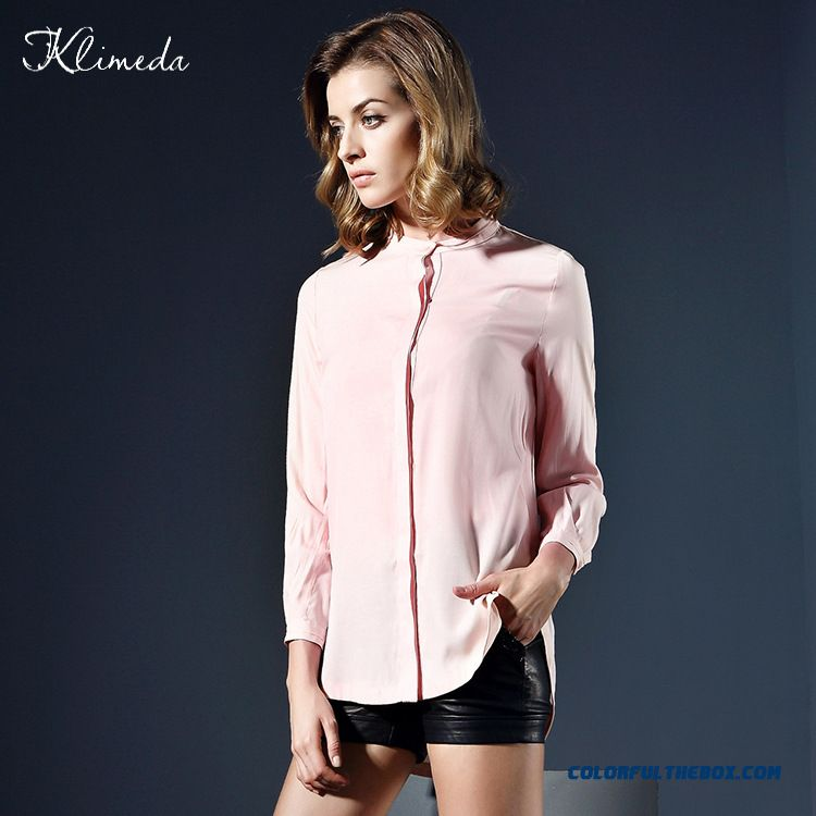 Fashion Side Split Europe Solid Color Women Standing Color Shirts