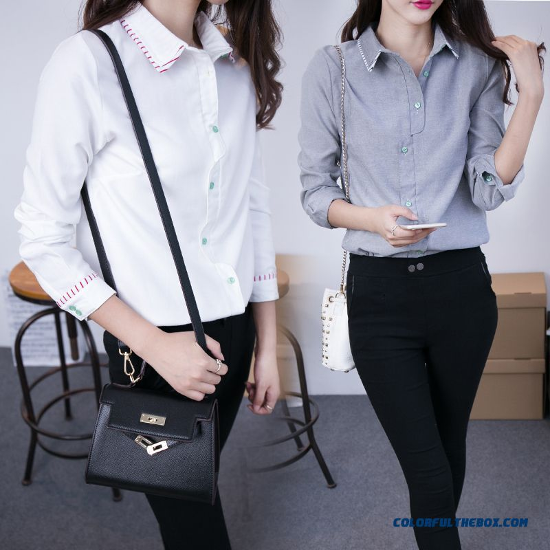 Fashion Slim Casual Long-sleeved White Shirt Standing Collar White Grey Blouse For Women