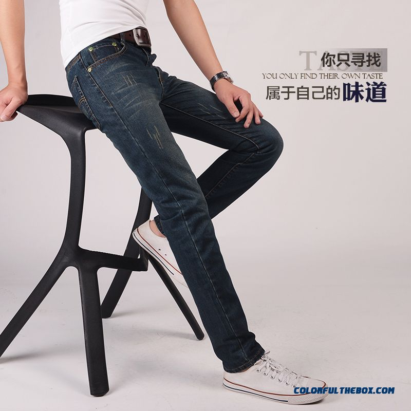 Fashion Slim Jeans Men Straight Thickening Large Size Pants Youth