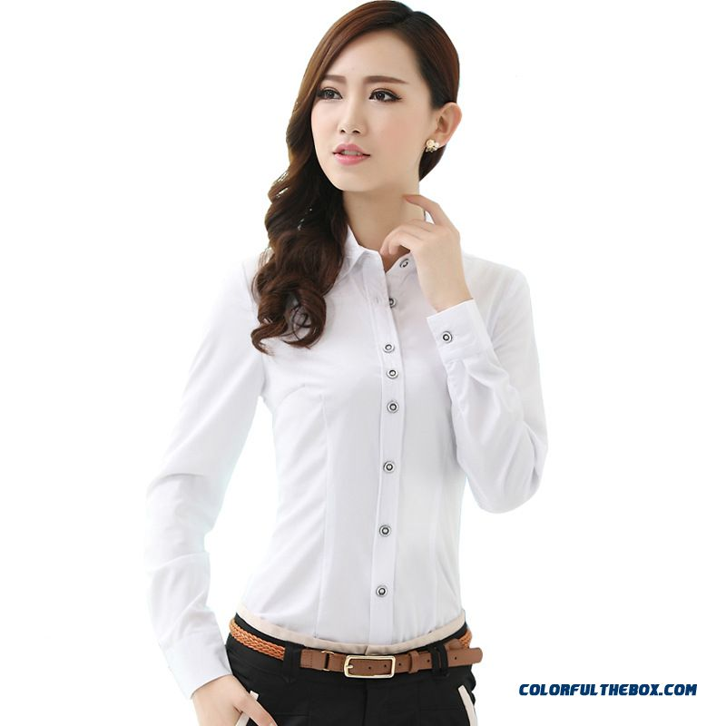 Fashion Style Overalls Lady Women Occupational White Shirts Free Shipping