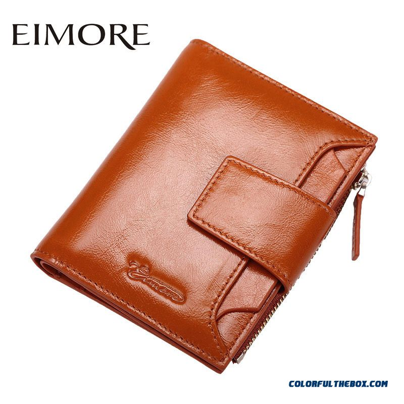 Fashion Style Popular Two-fold Short Small Genuine Leather Women Wallet Thin Simple Wallet Zipper Hasp