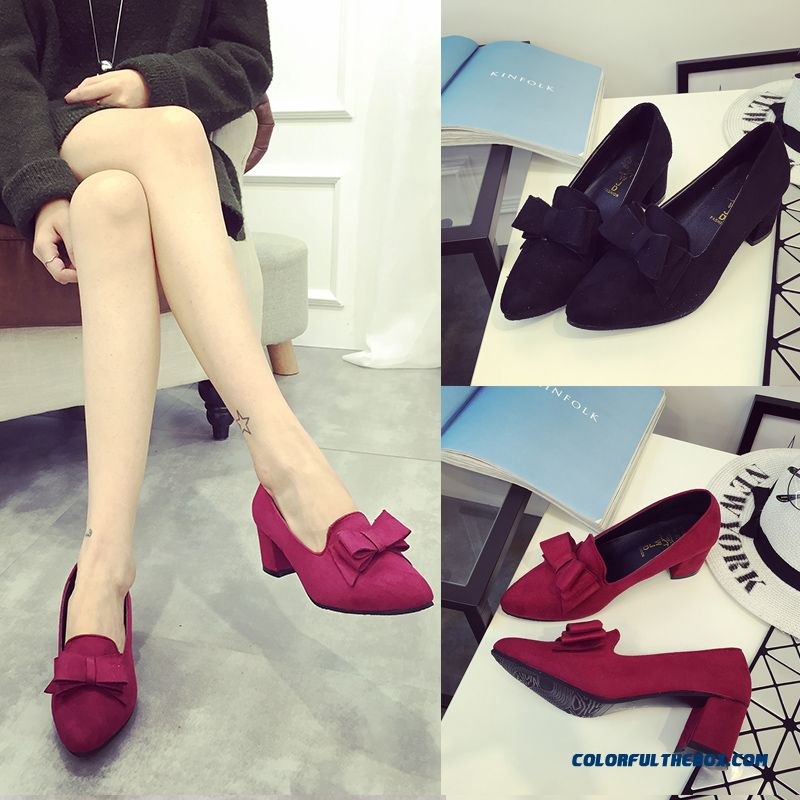 Fashion Sweet Pumps Rough Heel High-heeled Pointed Women Shoes Bow-tie Decorative Large Size
