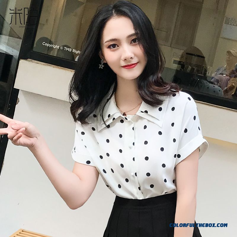 Fashion Trend Women's 2019 New Shirt Summer White Lady Chiffon Temperament Short Sleeve Coat