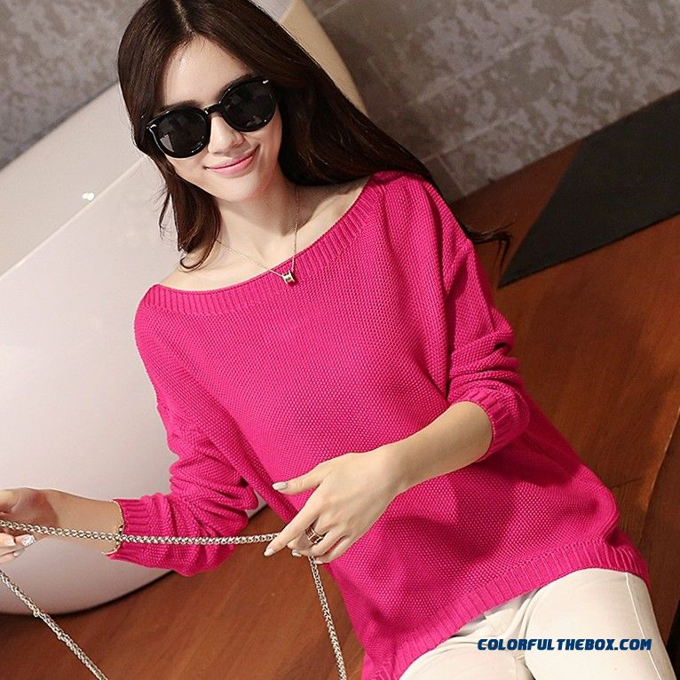 Fashion Women Clothing Sweater Pull Blouson Bottoming Shirt Round Neck Thin Loose Comfortable