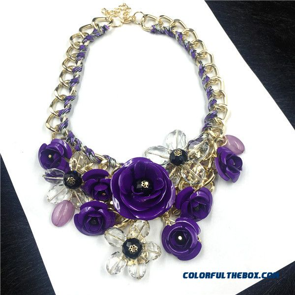Fashion Women Exaggeration Purple Flowers Diamond Short Clavicle Chain Fine Jewelry - more images 4